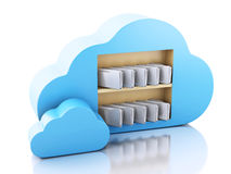 3d File storage in cloud. Cloud computing concept. 3d renderer illustration. 3d File storage in cloud. Cloud computing concept on white bakcground Royalty Free Stock Photography
