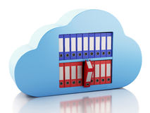 3d File storage in cloud. Cloud computing concept. royalty free illustration