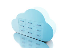 3d File storage in cloud. Cloud computing concept. 3d renderer image. File storage in cloud. Cloud computing concept.  white background Stock Photography