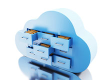 3d File storage in cloud. Cloud computing concept. 3d renderer image. File storage in cloud. Cloud computing concept.  white background Royalty Free Stock Photos