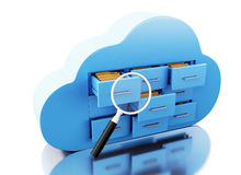 3d File storage in cloud. Cloud computing concept. 3d renderer image. File storage in cloud. Cloud computing concept.  white background Stock Images