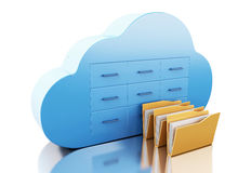 3d File storage in cloud. Cloud computing concept. 3d renderer image. File storage in cloud. Cloud computing concept.  white background Royalty Free Stock Photo