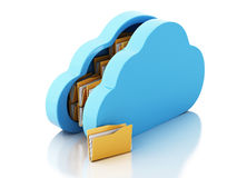3d File storage in cloud on white background. 3d renderer image. File storage in cloud. Cloud storage concept.  white background Royalty Free Stock Photo