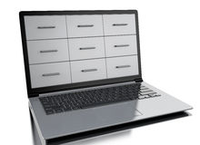 3d Files cabinets in laptop. 3d renderer image. File cabinets in the screen of laptop.  white background Stock Image