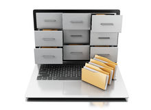 3d Files and folders in laptop. 3d renderer image. Files and folders in laptop. Archive concept.  white background Stock Photo