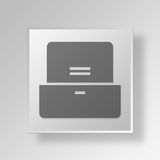 3D  Filing Cabinet Button Icon Concept Stock Photo