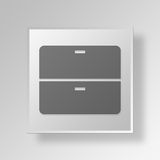 3D  Filing Cabinet Button Icon Concept Stock Photography