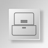 3D  Filing Cabinet Button Icon Concept Royalty Free Stock Image