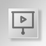 3D Film Button Icon Concept. 3D Symbol Gray Square Film Button Icon Concept Stock Images