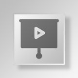 3D Film Button Icon Concept. 3D Symbol Gray Square Film Button Icon Concept Stock Image