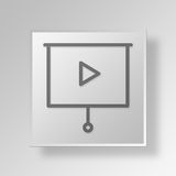 3D Film Button Icon Concept. 3D Symbol Gray Square Film Button Icon Concept Stock Photos
