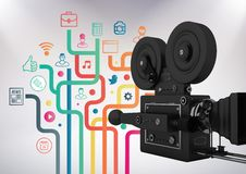 3D Film Camera against grey background with social media icon illustrations. Digital composite of 3D Film Camera against grey background with social media icon Stock Photography