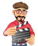 3D Film director with a clapperboard. 3d show business people. Film director with a clapperboard. White background Royalty Free Stock Photo