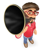 3D Film director talking on a megaphone Royalty Free Stock Photography