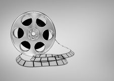 3D Film Reel against grey background Royalty Free Stock Image