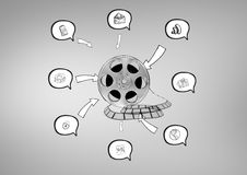 3D Film Reel against grey background with various graphic drawings icons in speech bubbles Stock Images
