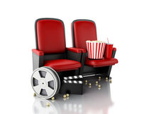 3d Film reel, popcorn and Cinema clapper board on theater seat. Royalty Free Stock Photo