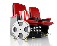 3d Film reel, popcorn and Cinema clapper board on theater seat. Royalty Free Stock Photography