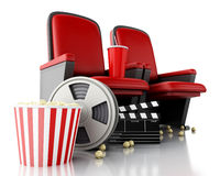 3d Film reel, popcorn and Cinema clapper board on theater seat. Royalty Free Stock Images