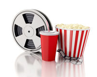 3d Film reel, popcorn and drink. Royalty Free Stock Image