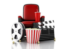 3d Film reel, popcorn and drink on theater seat. 3d illustration. Film reel, popcorn and drink on theater seat. cinematography concept Royalty Free Stock Photo