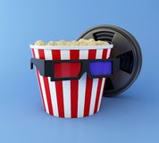 3d Film reel, popcorn and 3d glasses. 3d illustration. Film reel, popcorn and 3d glasses. Cinematography concept stock illustration