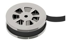 3d film reel. White isolated background royalty free illustration