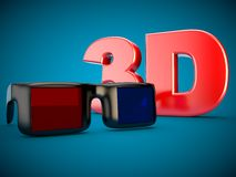 3D film TV di Kinfofilm di vetro del cinema 3D Fotografia Stock