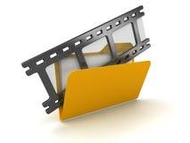 3d filmstrip in Folder. 3d render of filmstrip in computer folder. White background Stock Images