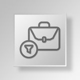3D filtered briefcase Button Icon Concept Stock Image
