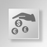 3D Finance insurance Button Icon Concept Royalty Free Stock Images