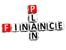 3D Finance Plan Crossword cube words Royalty Free Stock Photography