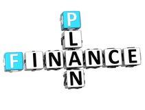 3D Finance Plan Crossword cube words Stock Photography