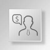 3D financiële manager Button Icon Concept Stock Foto
