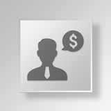 3D financial advisor Button Icon Concept. 3D Symbol Gray Square financial advisor Button Icon Concept Stock Photography
