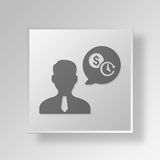 3D financial advisor Button Icon Concept. 3D Symbol Gray Square financial advisor Button Icon Concept Stock Photo