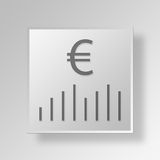 3D  financial bar chart Button Icon Concept. 3D Symbol Gray Square financial bar chart Button Icon Concept Stock Photography