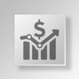 3D financial bar chart icon Business Concept. 3D Symbol Gray Square financial bar chart icon Business Concept Royalty Free Stock Image