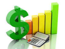 3d Financial business, bar graph and dollar sign. Stock Images