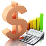 3d Financial business, bar graph and dollar sign. Stock Photography