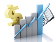 3d Financial business, bar graph and dollar sign. Royalty Free Stock Photo