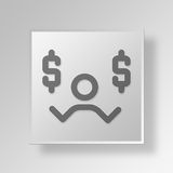 3D Financial Decision Button Icon Concept. 3D Symbol Gray Square Financial Decision Button Icon Concept Royalty Free Stock Photography