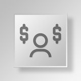 3D Financial Decision Button Icon Concept. 3D Symbol Gray Square Financial Decision Button Icon Concept Royalty Free Stock Image