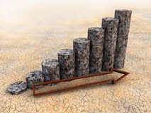 3D Financial Graph. Ruin and bankruptcy Stock Photos