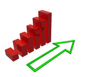 3D Financial Graph Stock Image