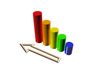 3D Financial Graph Stock Photo