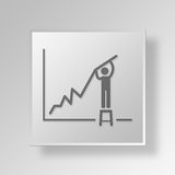 3D financial growth Button Icon Concept. 3D Symbol Gray Square financial growth Button Icon Concept Stock Images