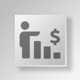 3D financial growth Button Icon Concept. 3D Symbol Gray Square financial growth Button Icon Concept Royalty Free Stock Photo