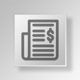 3D Financial News Button Icon Concept. 3D Symbol Gray Square Financial News Button Icon Concept Royalty Free Stock Image
