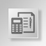 3D  financial report Button Icon Concept. 3D Symbol Gray Square financial report Button Icon Concept Stock Images